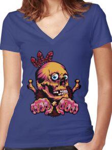 Skull Shaman Women's Fitted V-Neck T-Shirt