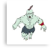 Orc Warrior Jumping Front Cartoon Canvas Print