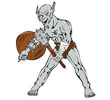 Orc Warrior Hold Club Shield Cartoon by patrimonio