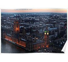 Areal View of London, England and The Houses of Parliament Poster