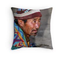 Elderly Man in a Bright jacket. Bhutan, Eastern Himalayas  Throw Pillow