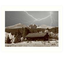 Mountain Lightning Landscape Art Print