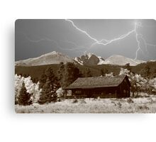 Mountain Lightning Landscape Canvas Print