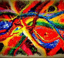 Colorful Abstract Painting on Canvas Titled: Colored River by ZeeClark