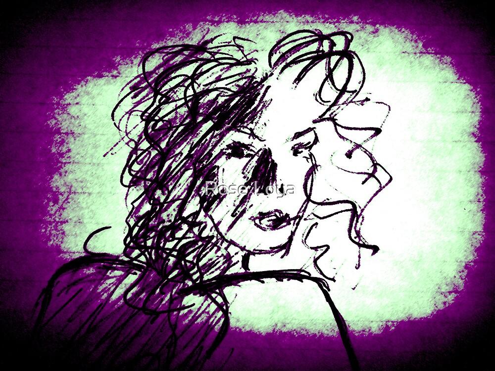 Caught series, purple & green by Rose Loya