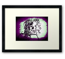 Caught series, purple & green Framed Print