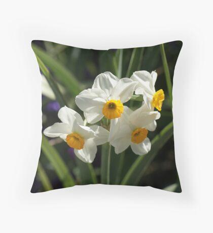 White Daffs Throw Pillow