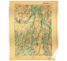 Maine USGS Historical Map Bath 807368 1894 62500 Poster