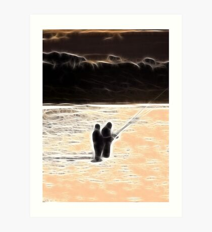 RB Collaboration-Beach Sunset Sihouette Abstract Art Print