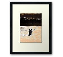 RB Collaboration-Beach Sunset Sihouette Abstract Framed Print