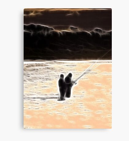 RB Collaboration-Beach Sunset Sihouette Abstract Canvas Print