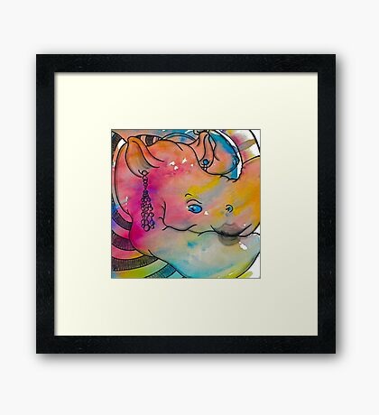 Interpretation #87 - Rhino on trend Framed Print