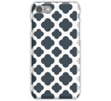 Charcoal and White Quatrefoil Pattern iPhone Case/Skin