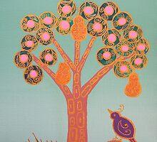 Partridge In A Pear Tree (Gold) by GlenyssJoy