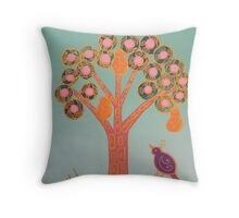 Partridge In A Pear Tree (Gold) Throw Pillow