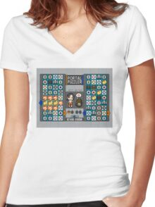 Portal Puzzler Women's Fitted V-Neck T-Shirt