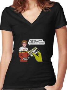 Bill Elliott Wants My NASCAR License Women's Fitted V-Neck T-Shirt