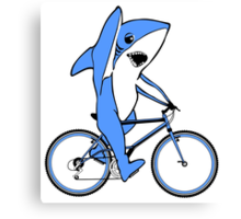 Bicycle Riding Left Shark  Canvas Print