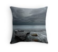 Late hour by the seaside Throw Pillow