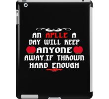 An aplle a day will keep anyone away,if thrown hard enough Funny Geek Nerd iPad Case/Skin