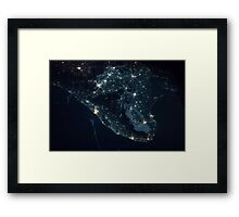 India from Space - India at night - International Space Station - NASA Framed Print