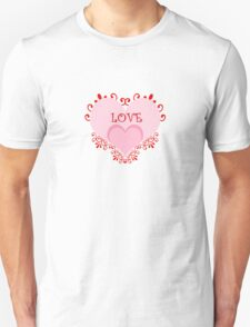 Valentine's Day Red Hearts Curls Unisex T-Shirt
