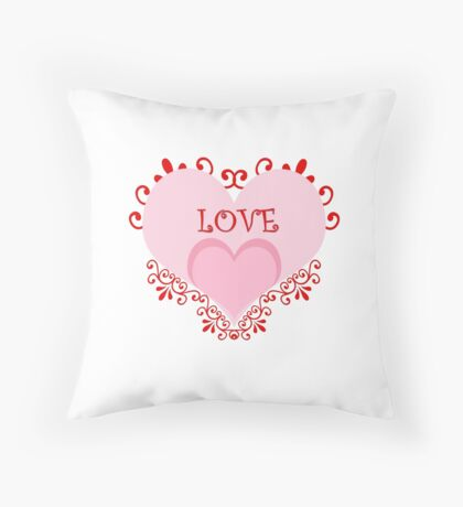 Valentine's Day Red Hearts Curls Throw Pillow