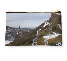 Salisbury Crags and Edinburgh Castle in winter Studio Pouch