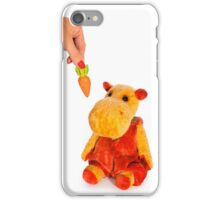 Isolated yellow hippo toy and hand with carrot iPhone Case/Skin