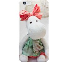 White hippo toy with textile and sewing accessory iPhone Case/Skin