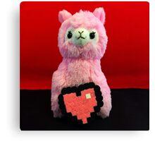 Pink Alpaca Valentines Canvas Print