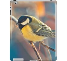 great titmouse in winter time on a branch iPad Case/Skin