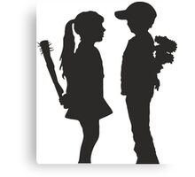 Banksy Design Print Girl and Boy  Canvas Print