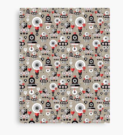 pattern amusing lovers robots Canvas Print