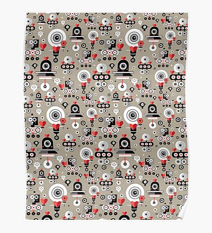 pattern amusing lovers robots Poster