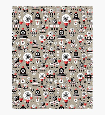 pattern amusing lovers robots Photographic Print