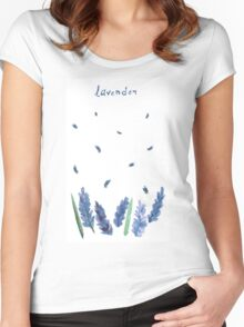 Vector watercolor lavender with blue bright watercolor ribbon. Women's Fitted Scoop T-Shirt