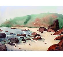 Tropical beach at sunset - nature background watercolor Photographic Print