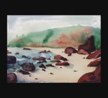 Tropical beach at sunset - nature background watercolor Kids Clothes