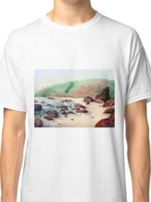 Tropical beach at sunset - nature background watercolor Classic T-Shirt