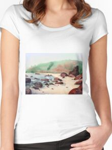 Tropical beach at sunset - nature background watercolor Women's Fitted Scoop T-Shirt