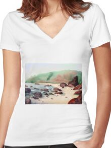 Tropical beach at sunset - nature background watercolor Women's Fitted V-Neck T-Shirt