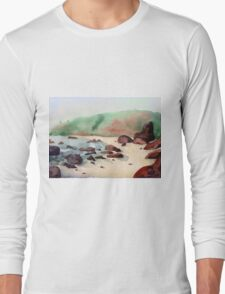 Tropical beach at sunset - nature background watercolor Long Sleeve T-Shirt