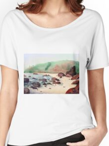 Tropical beach at sunset - nature background watercolor Women's Relaxed Fit T-Shirt