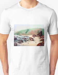 Tropical beach at sunset - nature background watercolor Unisex T-Shirt