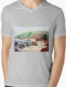 Tropical beach at sunset - nature background watercolor Mens V-Neck T-Shirt