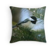 Chickadee Watercolor Throw Pillow