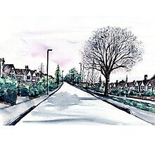 Quiet Road in Autumn, Watercolour Painting Photographic Print