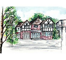 English Tudor-Style House, Watercolour Painting Photographic Print