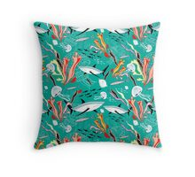 sea pattern with sharks Throw Pillow